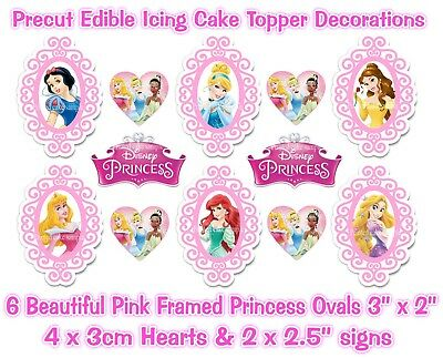 £4.99 • Buy Disney Princess Edible *precut* Icing Pink Framed Ovals Cake Toppers & Extra's