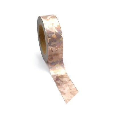 AU5.50 • Buy Washi Tape Rose Gold Holographic Copper Metallic Foil Abstract 15mm X 10m