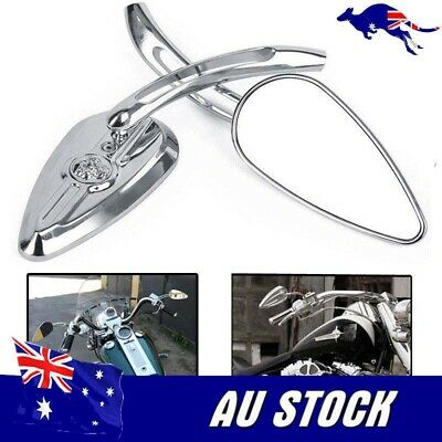 AU47.81 • Buy Pair Chrome Skull Motorcycle Mirrors For Harley Davidson Softail FXSTI Flame