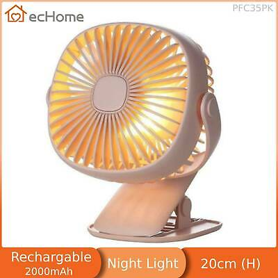 AU8.91 • Buy EcHome USB Rechargeable Clip Desk Fan With Light Handheld 360° Rotation Pink