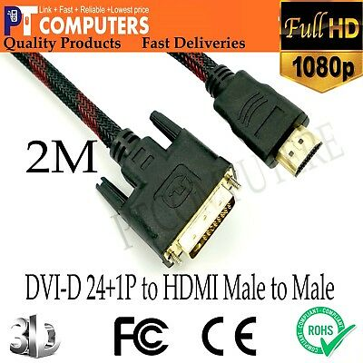 AU12.21 • Buy 2M Premium DVI-D 24+1p To HDMI Cable Male To Male Gold-Plated For PC TV Monitor