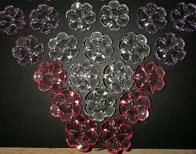 £2.45 • Buy Transparent Buttons Flower See Through Clear Shaped Two Hole 18mm Shape