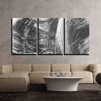 $54.99 • Buy Wall26 - Black And White Abstract Brush Painting - Canvas Art - 16 X24 X3 Panels