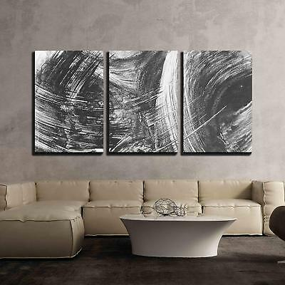 $44.99 • Buy Wall26 - Black And White Abstract Brush Painting - Canvas Art - 16 X24 X3 Panels