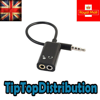 Audio / Microphone Y Splitter Adapter Cable To Combi Mic/Headphone 3.5mm Jack UK • 2.89£