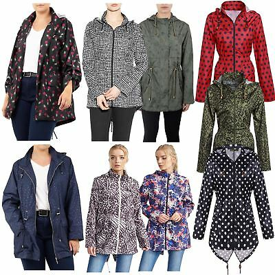 Womens Plus Size Printed Shower Proof Hooded Fishtail Parka Mac Raincoats Jacket • 9£