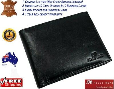 AU24.99 • Buy New Mens Genuine Leather Clutch Gents Slim Bifold Flip Card Holder Coin Wallet 1