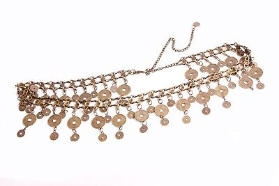 Ladies Unique Gold Chain Belt With Chinese Coins Tassels And Clip Closing (S402) • 11.99£