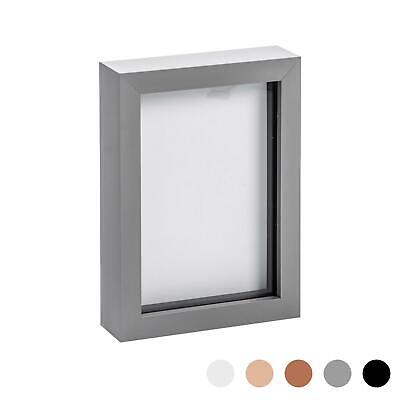 Box Picture Frame Deep 3D Photo Display 5x7 Inch Standing Hanging Grey • 8.99£