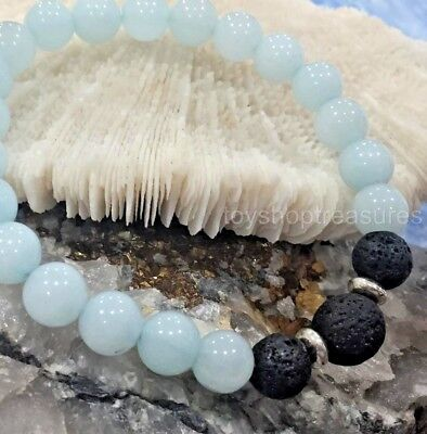 AU9.95 • Buy Aromatherapy Diffuser Essential Oil Lava & Amazonite Healing Bracelet Men Women