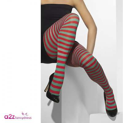 Green & Red Opaque Ladies Tights Elf Elves Christmas Fancy Dress Adult Accessory • 6.99£