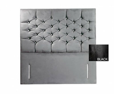 Cristo 4ft SMALL DOUBLE Black Faux Suede Boutique Headboard *FLOOR STANDING* • 269.10£