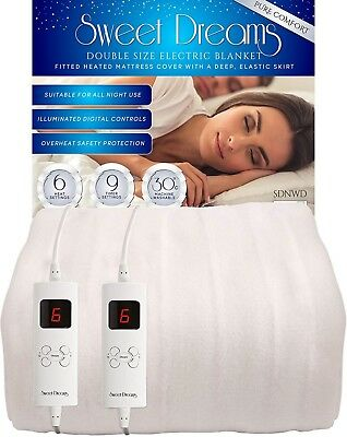 £64.95 • Buy Sweet Dreams Double Electric Blanket Size Heated Fitted Under Cover Dual Control