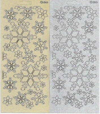 £1.35 • Buy Snowflake Stickers - Peel Off Gold Silver Pearl Glitter Christmas Embellishment