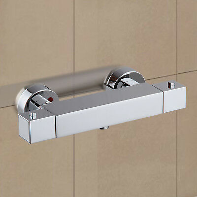 £29.99 • Buy Square Thermostatic Shower Bar Mixer Valve Tap Chrome Bathroom Twin Outlet