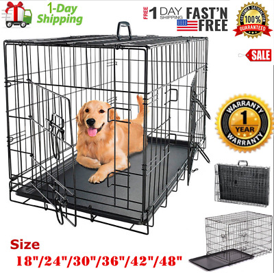 $51.49 • Buy Extra Large Dog Crate Kennel 48 /42 /36 /30 /24  Folding Pet Cage Metal US SHIP