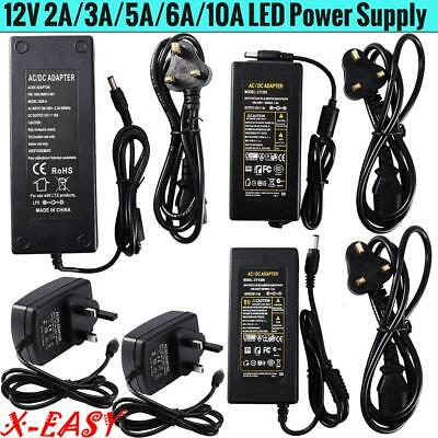 UK Stock Power Supply Adapter AC To DC 12V 2A 3A 5A 6A 10A LED Light Strip • 2.59£