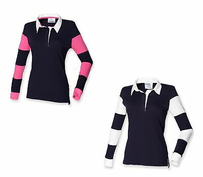 Front Row Ladies T-Shirt Long Sleeve Slim Fit Rugby Womens FR103 • 2.99£