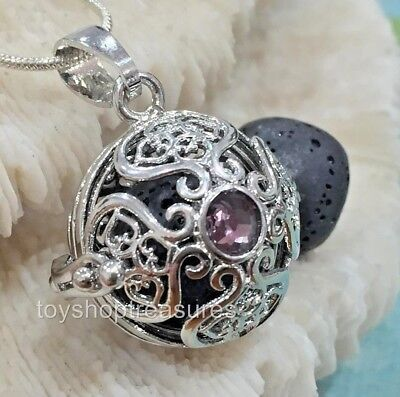 AU16.95 • Buy Rhinestone Amethyst Crystal Aromatherapy Diffuser Necklace Essential Oil Lava