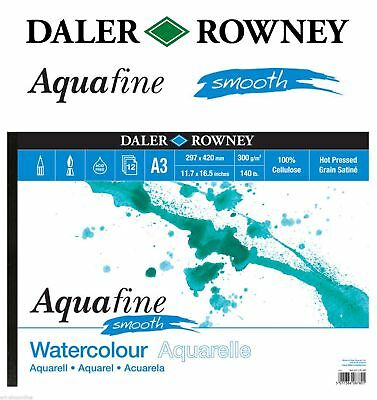 £6.99 • Buy Daler Rowney AQUAFINE WATERCOLOUR PAD 12 SHEETS 300GSM SMOOTH A4 A3