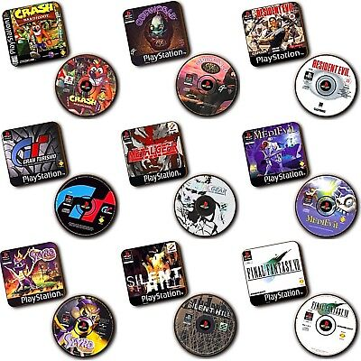 AU11.12 • Buy PlayStation PS1 - Games - Box Art + Disc Art - Wood Coasters - Sets Of 2 - Gifts