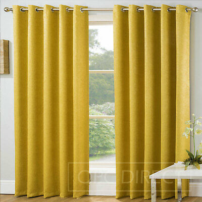 Plain Embossed Blockout Thermal Eyelet Ring Top Curtains, Ochre Mustard Yellow • 25.99£
