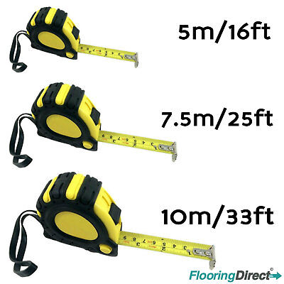 5M 7.5M 10M Retractable Tape Measure Griplock Imperial Metric Measuring Metres • 5.99£
