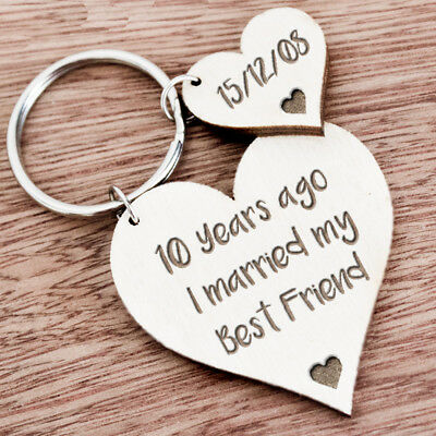 10th Ten Year Anniversary Gift For Husband Wife Personalised Keyring Present K28 • 5.99£