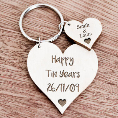 Personalised Gifts For Her Wife Girlfriend 10th Tin Ten Anniversary Keyring K29 • 5.99£