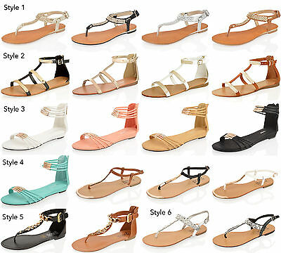 Womens Ladies Summer Sandals Flat Wedge Gladiator Open Toe Beach Holiday Shoes • 7.99£