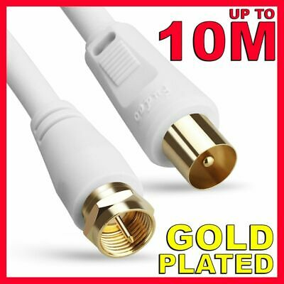 AU6.25 • Buy GOLD HD TV Antenna Cable PAL Male To F-Type Flylead Aerial Cord Coax Long Lead