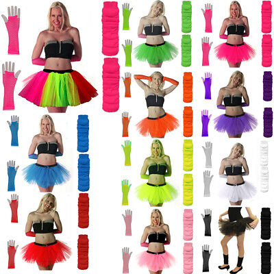 New Neon Tutu Skirt Fancy Dress Set 3pc Legwarmers Fishnet Gloves 80's Hen Party • 4.99£