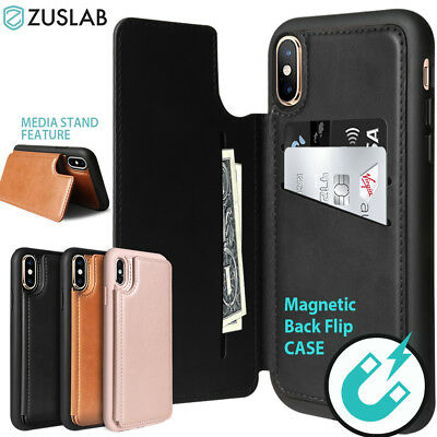 AU13.99 • Buy For IPhone X XS Max XR Case Shockproof Card Leather Wallet Magnetic Stand Cover