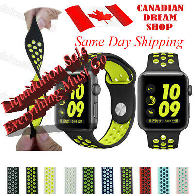 $ CDN6.59 • Buy Silicone Strap For Apple Watch Band 42mm/38mm IWatch Nike+ All Series 1 2 3 4