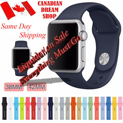 $ CDN9.99 • Buy Silicone Replacement Strap For Apple Watch Band 42mm/38mm All Series 1 2 3 4