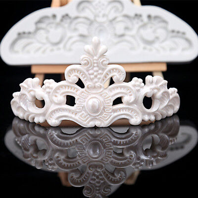 Vintage Relief Baroque Silicone Cake Mold Crown Fondant Border Paste Icing Mould • 4.99£