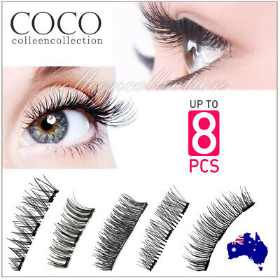 AU8.75 • Buy 3D Triple Magnetic Eyelashes Handmade Natural Extension False Magnet Eye Lashes