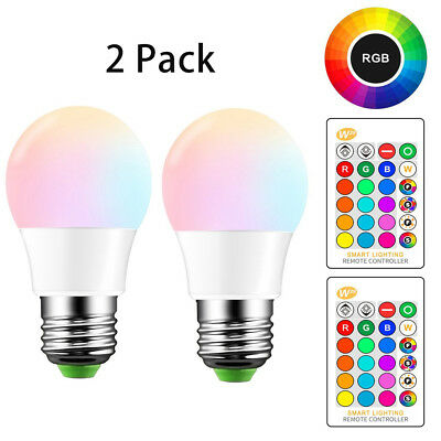 $9.99 • Buy E26 LED Light Bulbs RGB Color Changing 5W A19 Cool White Bulb With Remote 2 Pack