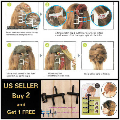 $4.99 • Buy French Hair Styling Braiding DIY Tool Magic Twist Plait Braid Clip Bun Maker B