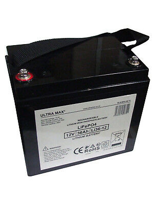 UMX LITHIUM 12V 36Ah (36+ Holes) Golf Trolley Battery, Mocad Hillbilly Powakaddy • 189.71£