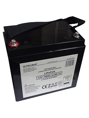 ULTRAMAX LI36-12, 12V 36AH (as 33Ah & 34Ah) LITHIUM IRON PHOSPHATE UPS BATTERY • 183.71£
