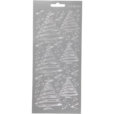 £1.99 • Buy Silver Self Adhesive Christmas Trees Peel Off Stickers Sheet Card Decor Crafts