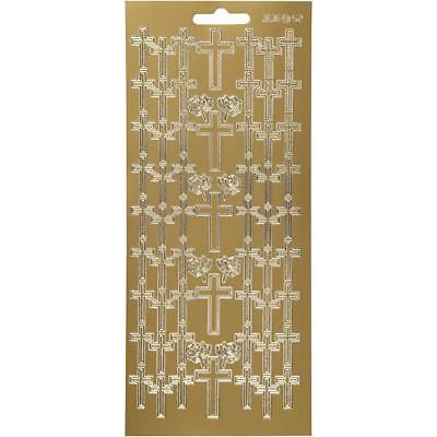 Gold Self Adhesive Cross Peel Off Stickers Sheet Foil Card Embellishments Crafts • 1.99£