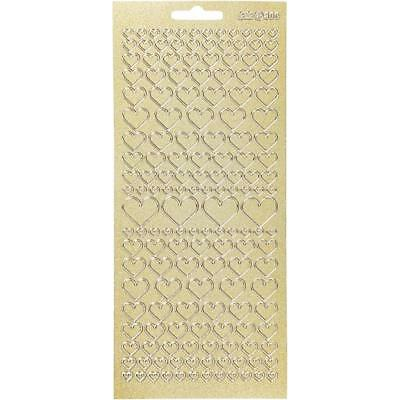 Gold Self Adhesive Heart Peel Off Stickers Sheet Foil Card Embellishments Crafts • 1.99£