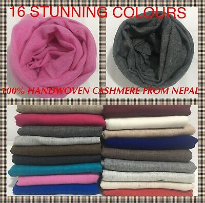100% Pure Natural Handwoven Cashmere Scarf Shawl Wrap Nepal Soft Light,warm Gift • 18.99£