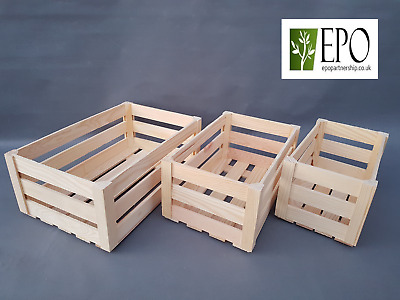 Wooden Box Storage Containers Crate Plain Wood Decoupage Herbs 3 Sizes Set Bulk • 7.99£
