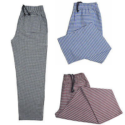 £9.99 • Buy Chef Trousers Excellent Quality Unisex 3 Pocket Elasticated Chef Check Trousers