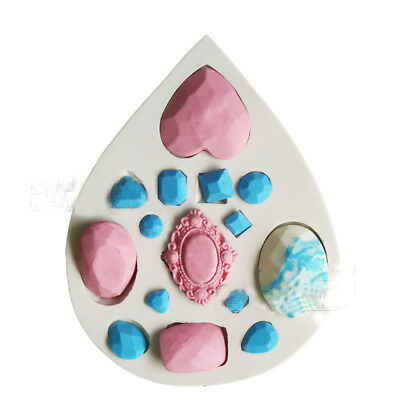 3D Gem Diamond Jewel Silicone Mould Chocolate Decorating Sugarcraft Fondant Mold • 3.59£