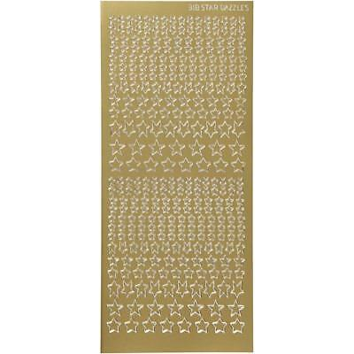 Gold Self Adhesive Stars Peel Off Stickers Sheet Foil Card Embellishments Crafts • 1.99£