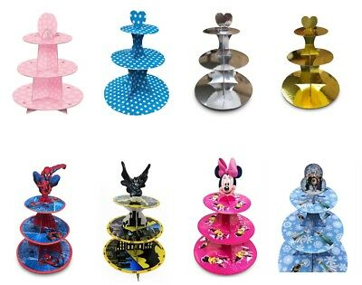 £5.99 • Buy 3 Tier Cupcake Stand Pink Blue Stripes Dots Food Platter Round Display Party